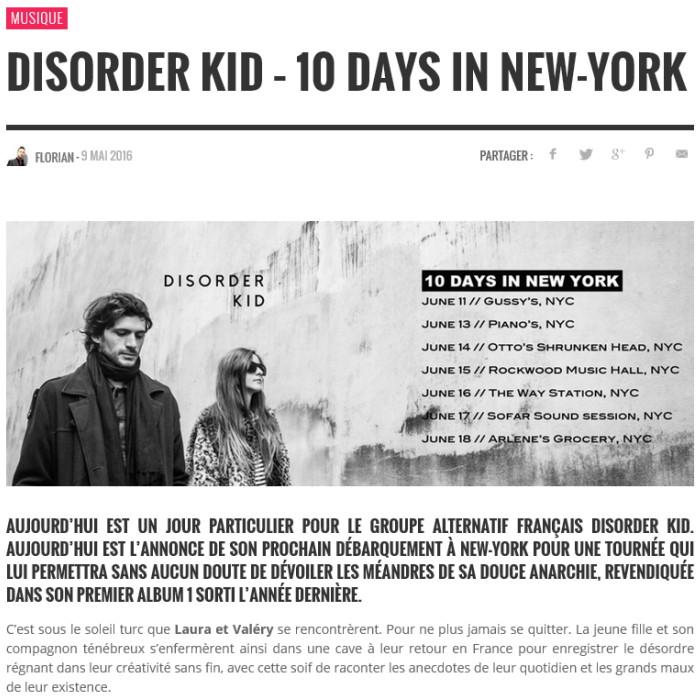 disorder kid skriber tournée états unis